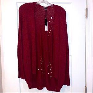 EUC -Express Maroon Distressed Cardigan Sweater